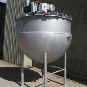 1,000 L S/S Giusti Hemispherical JKTD Scraped Surface Mixing Pan 7.5 kW
